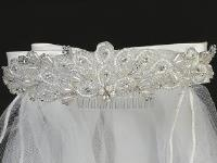 "Lito 24"" Veil With Beads & Rhinestones w Satin Bows - Precious + Posh"