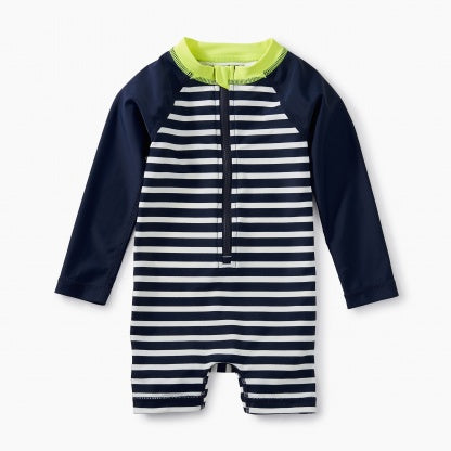 Tea Collection Striped Rash Guard One Piece  - Precious + Posh