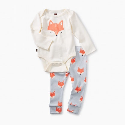 Tea Collection 2 Piece Bodysuit Baby Outfit - Foxes-Precious + Posh