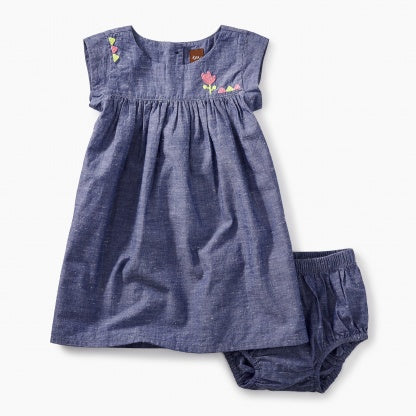 Tea Collection Embroidered Chambray Baby Dress - Precious + Posh