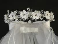 "Lito,24"" Veil communion Headpiece T-458 - Precious + Posh"