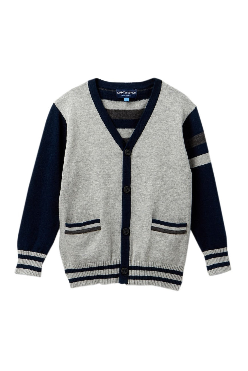 Andy & Evan Grey and Navy Striped Varsity Cardigan