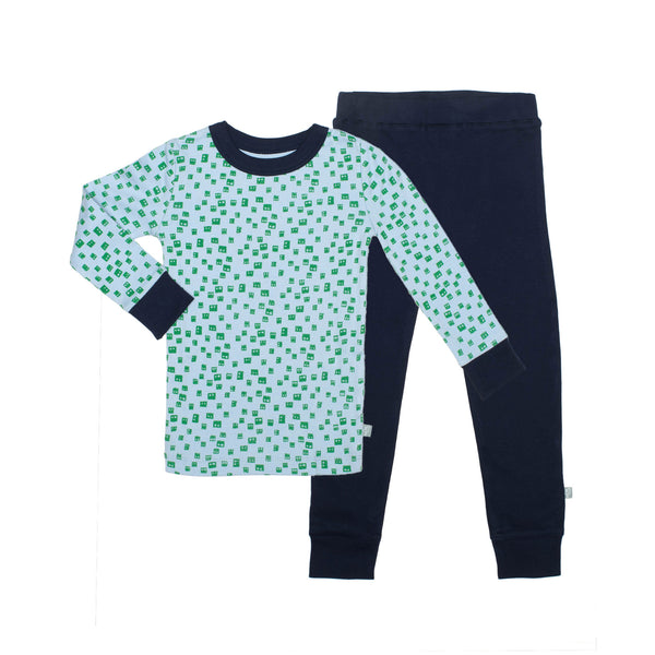 Finn + Emma Two Piece Pajama Set Robot Heads Print - Precious + Posh