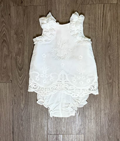 Biscotti Embr Shift Dress White Baby