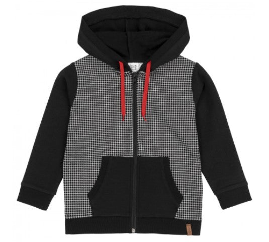 Deux Par Deux French Terry Checked Jersey Hoodie Black