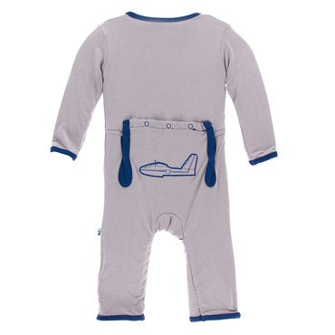 Kickee Pants Applique Coverall with Zipper Grey/Navy
