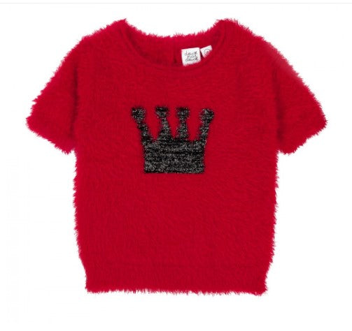 Feather Yarn Knitted Sweater Red