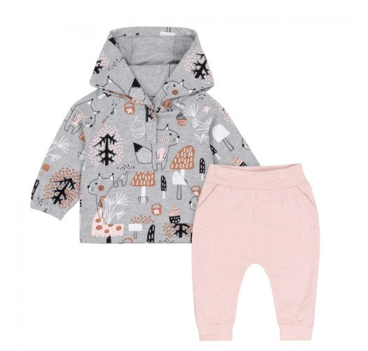 Deux Par Deux Forest Friends Hoodie Top & Fleece Pant Set Gray/Pink