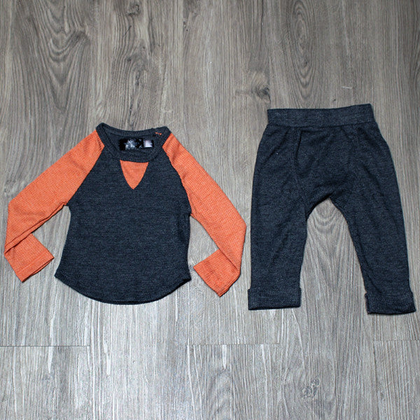 Troy James Boys Grey Thermal Raglan Set - Precious + Posh