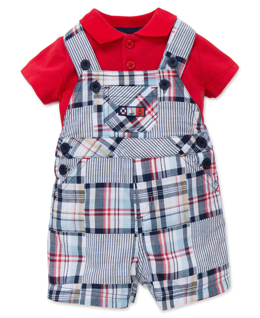 Little Me Woven Shortall Plaid-Precious + Posh