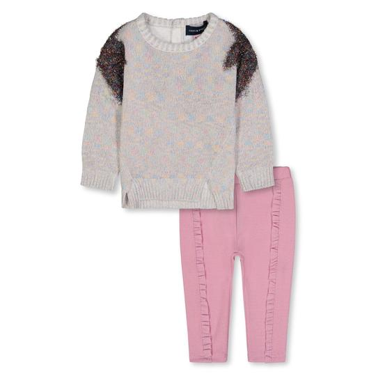 Andy & Evan Star Shoulder Sweater & Ruffle Pink Leggings Set