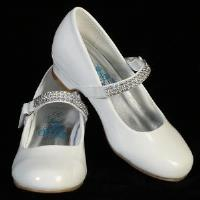 "Mia 1"" Heel Girl's Shoes with Rhinestone Strap"
