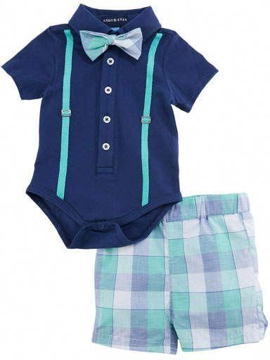 Andy & Evan Navy Polo Shirtzie Set