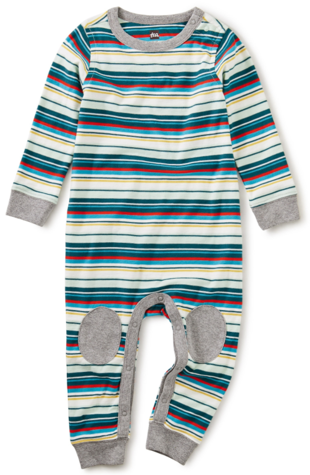 Tea Collection Stripe Knee Patch Romper