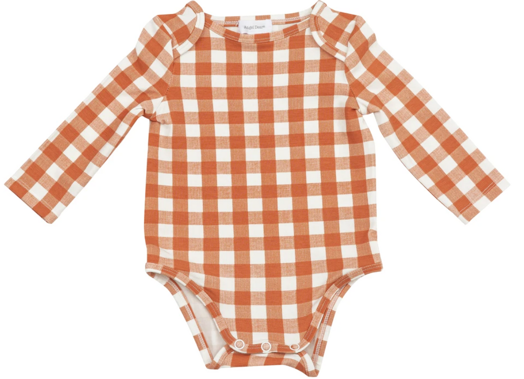 Angel Dear Gingham Pumpkin Onesie