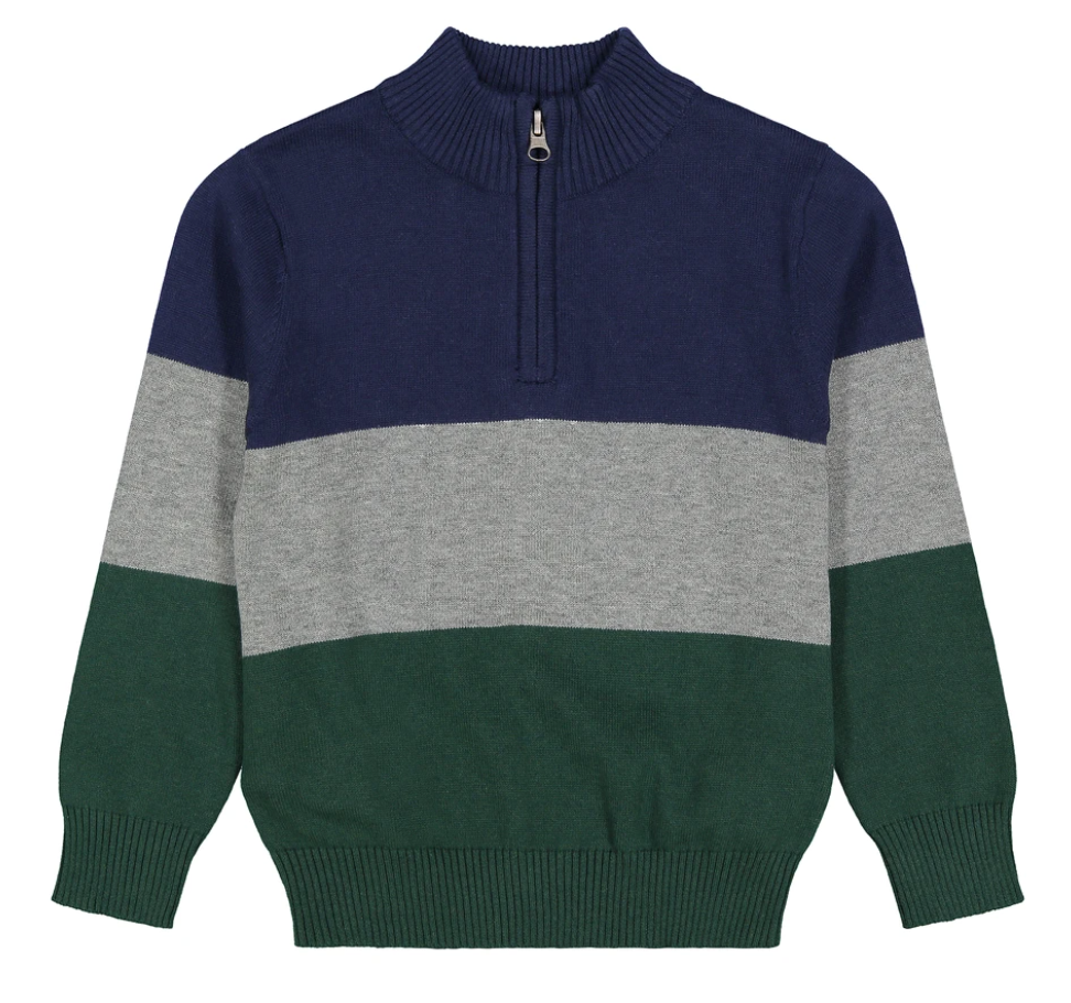 Andy & Evan Tri-Colored Half Zip Up Sweater