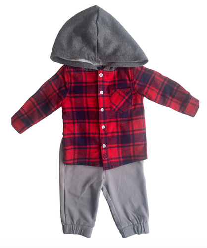 Andy & Evan Red Button Down Hoodie/Jogger Set