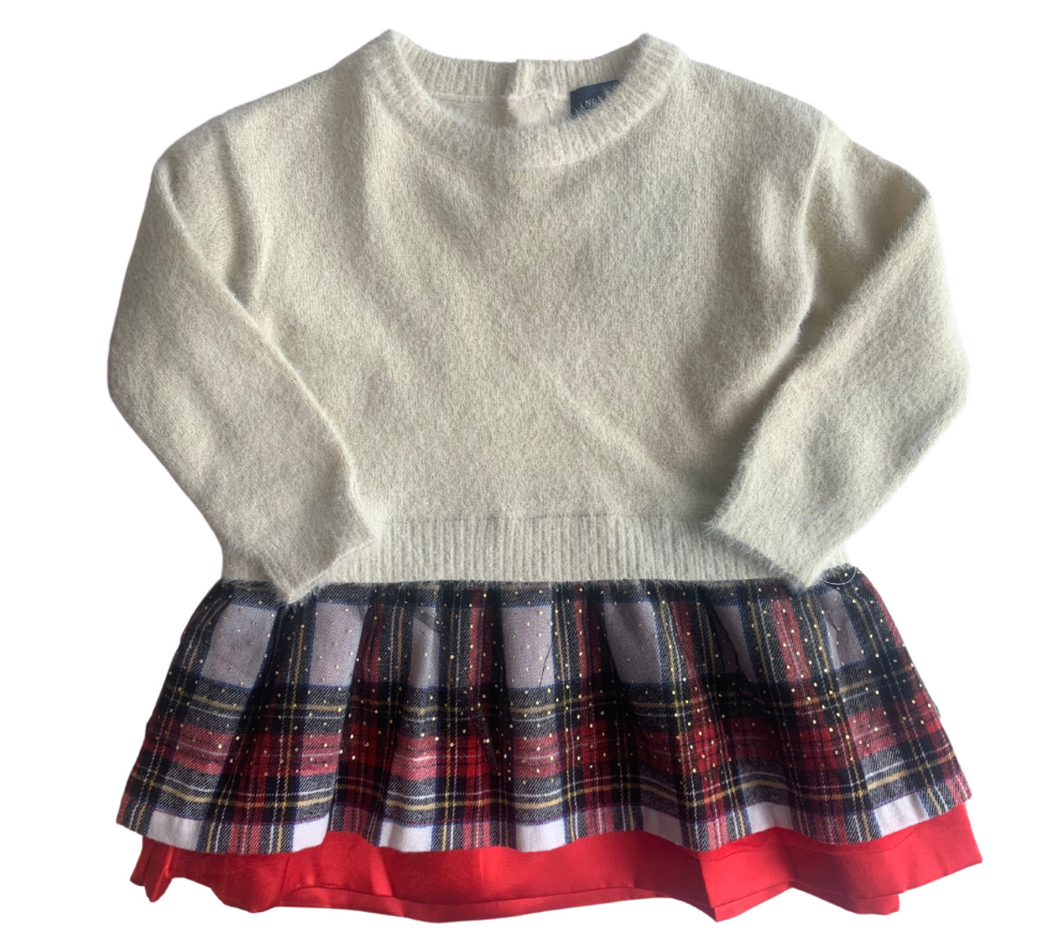 Andy & Evan Long Sleeve Sweater Dress w/ Plaid Skirt