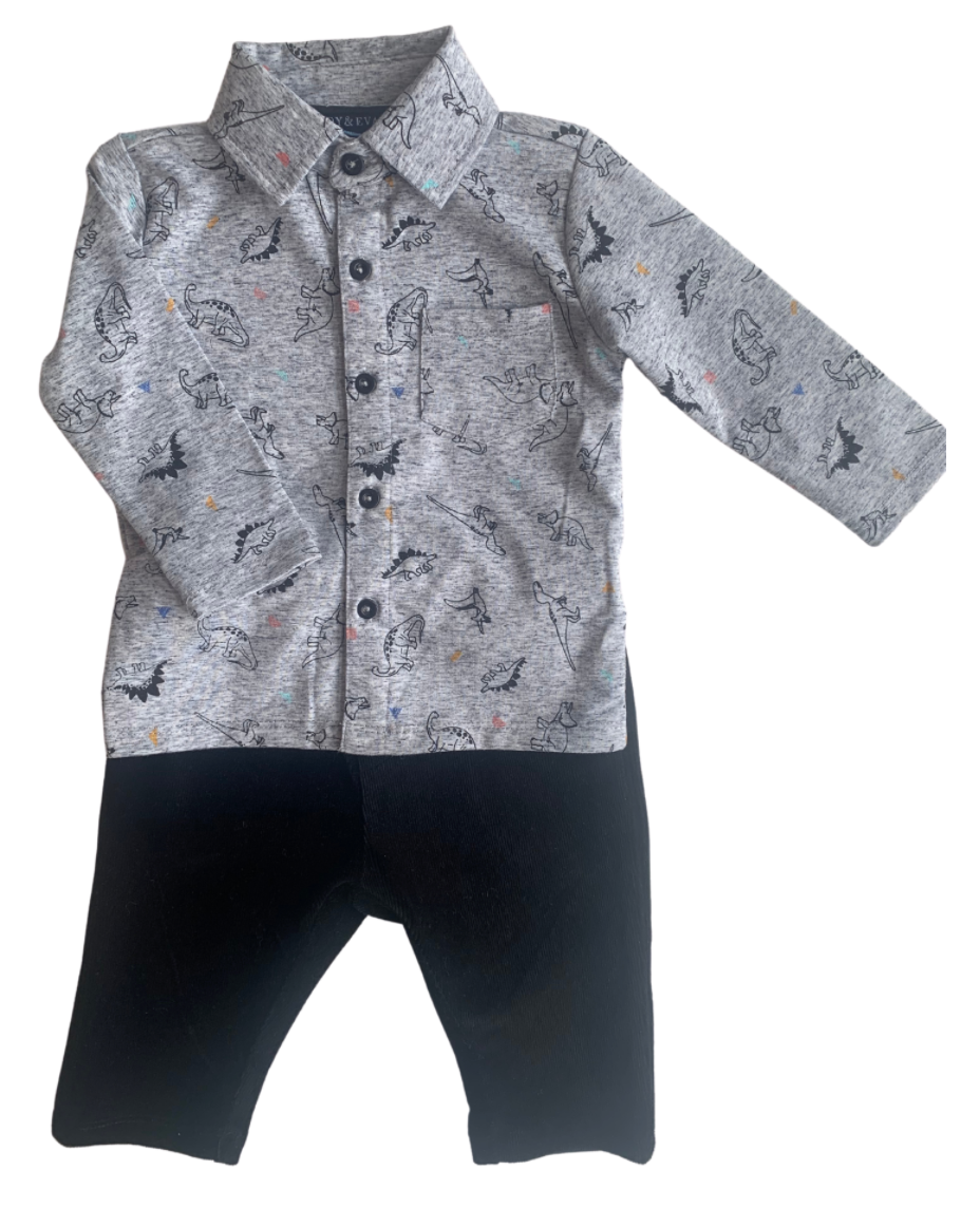 Andy & Evan Dinosaur Knit Button Down Shirt Set
