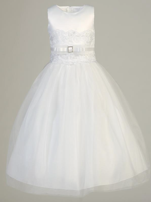 Lito Children's Wear Satin & Tulle  Communion Dress- Precious+Posh