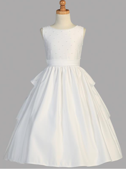 Lito Children's Wear Pearled Bodice Communion Dress- Precious+ Posh