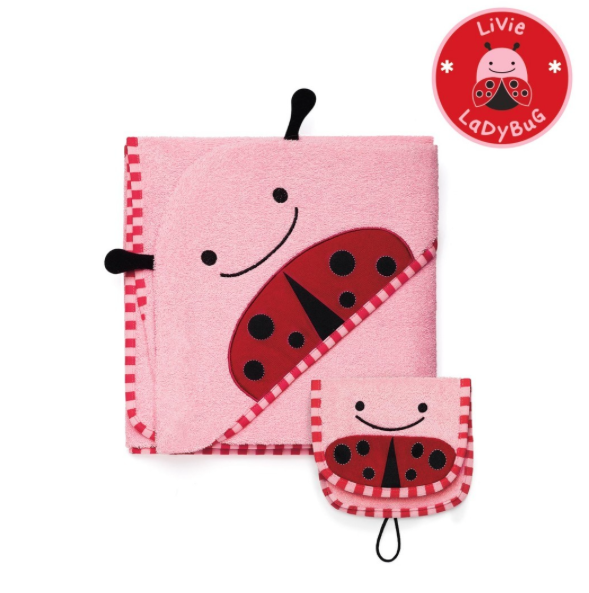 Skip*Hop Zoo Hooded Towel & Mitt Set- Precious+Posh