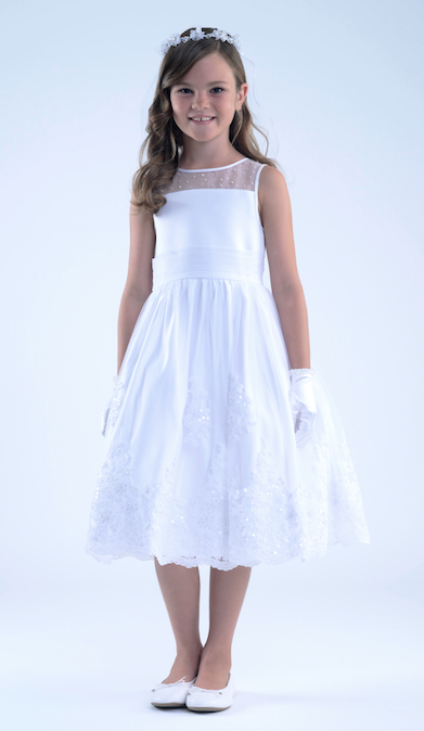 Organza Dress with Illusion Neck Communion Dress