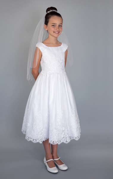 US Angel Cap Sleeves with netting Bodice Communion Dress - Precious + Posh