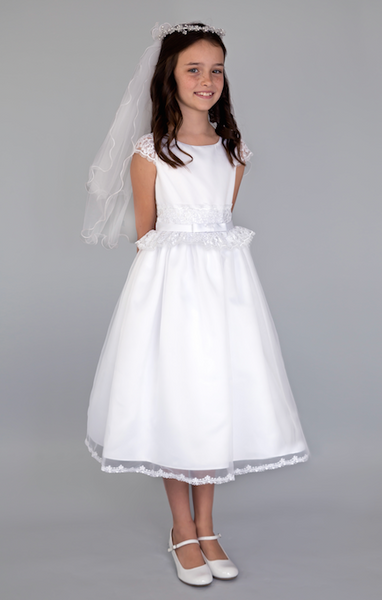 US Angel Lace Cap Sleeve Communion Dress - Precious + Posh