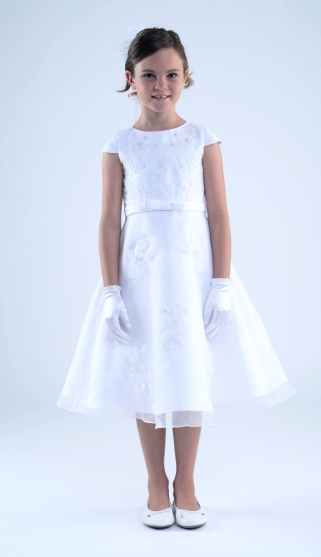 Cap Sleeves With Applique Communion Dress (C5-372)