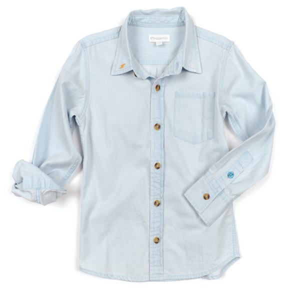 Bleached Chambray Johnnie Shirt - Precious + Posh
