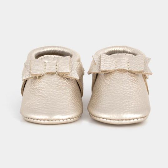 Freshly Picked Platinum Bow Moccasin - Precious + Posh