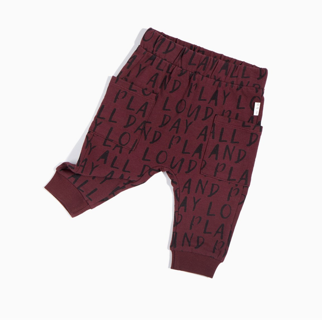 Burgundy Play All Day Jogger - Precious + Posh
