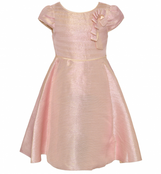 Pink Shimmery Cap Sleeved Dress