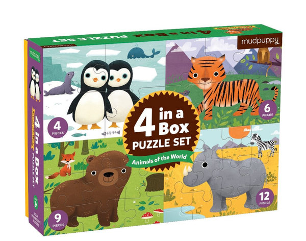 Animals of the World 4-in-a-box Puzzle Set - Precious + Posh