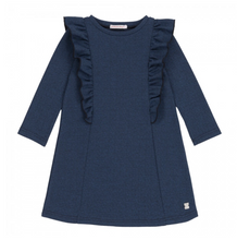 Load image into Gallery viewer, Deux Par Deux Midnight Blue Herringbone Dress with Side Ruffle