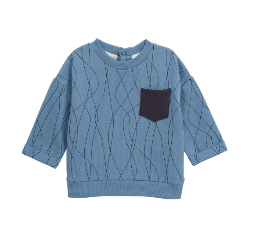 Miles Baby Alpine Club Sweatshirt in Dusty Blue