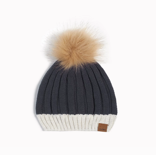 Miles Baby Pom Pom Hat Dark Grey
