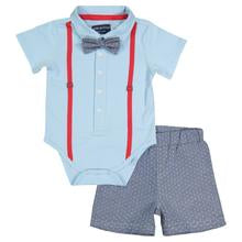 Andy and Evan Blue & Dot Oxford Polo Onesie Set