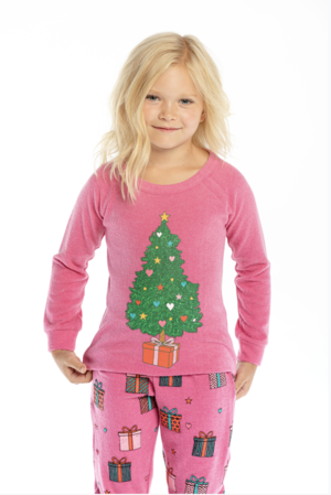Chaser Girls Bliss Knit Raglan Christmas Tree Pullover