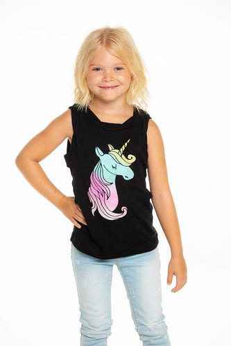 Chaser Girls Muscle Tank Glitter Unicorn