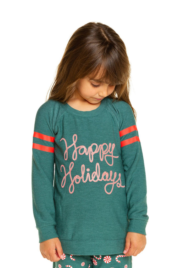 Chaser Happy Holidays Knit Raglan Pullover