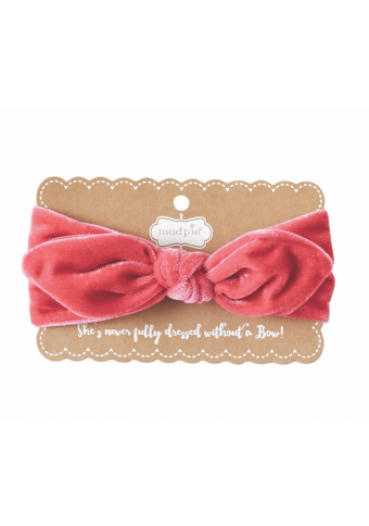 Mud Pie Hot Pink Velvet Bow