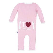 Load image into Gallery viewer, Kickee Pants Holiday Applique Coverall I Love Mom Pink