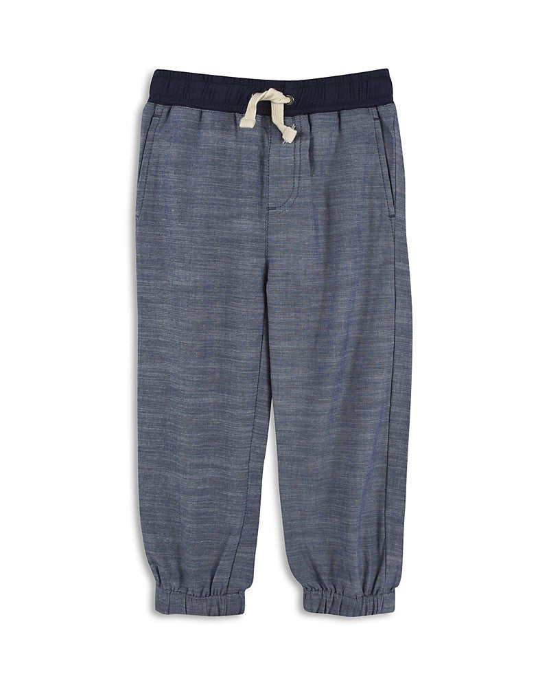 Blue Chambray Jogger Pant with Blue Waist Band - Precious + Posh