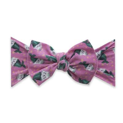 Baby Bling Kitty Printed Knot Bow