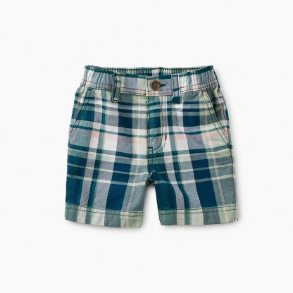 Tea Plaid Baby Travel Shorts