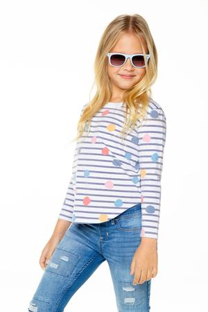 Chaser Girls Recycled Vintage Jersey Long Sleeve Scoop Back Stripe Dot
