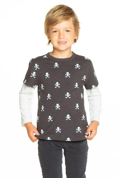 Chaser Skull and Bones Crew Neck Tee Jersey