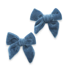 Load image into Gallery viewer, Baby Bling 2PK Velvet Bow Clip Slate Blue